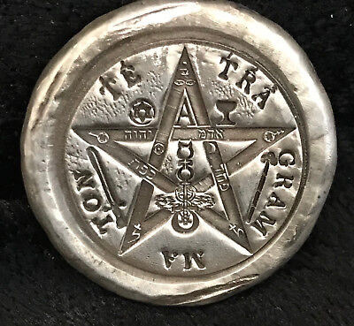 "1 Troy Oz  .999 FS MK BarZ Stamped ""Tetragram Pentacle"" Round"