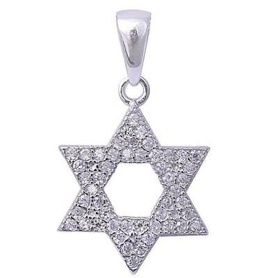 Micro Pave Cubic Zirconia Star of David .925 Sterling Silver Pendant