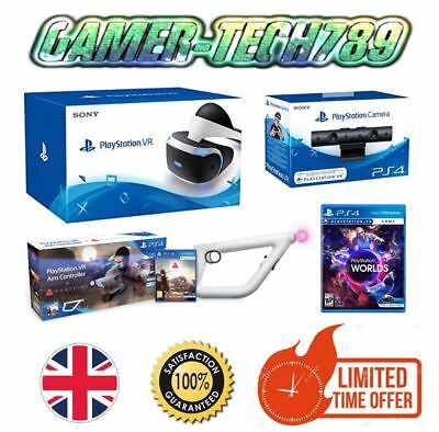*New* Sony PlayStation VR + Camera +Worlds + Farpoint Aim Controller PSVR Bundle