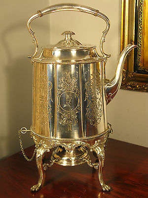 Spirit Kettle Silver Huge James Dixon Sheffield Antique Victorian Vintage C1850