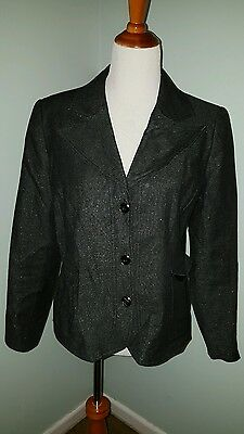REQUIREMENTS Women's Size 12 Metallic Accent Blazer Jacket Pre-owned Stretch B3