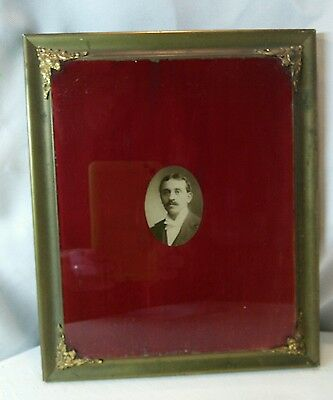 Vtg Antique Victorian Brass ornate frame reverse red painted Glass Portrait
