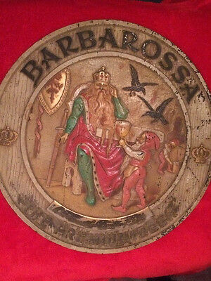 RARE Vtg 1943 Barbarossa Premium Beer Sign Red Top Brewing Co Ohio Hard to Find