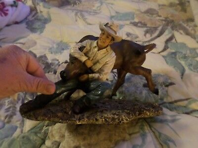 "9"" Inches Western Cowboy Bull Rodeo resin Figurine Figure Statue"