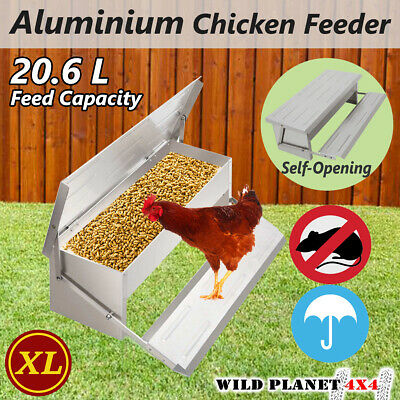 20.6L Chicken Feeder Automatic Aluminium Chook Treadle Self Opening Poultry Rat-