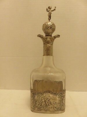 "Vintage Sterling Silver Etched Glass Decanter Bottle Windmill Farm Life 12""T"