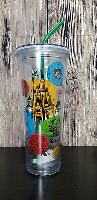 Disney Parks Starbucks Attractions Acrylic Drink Tumbler with Straw