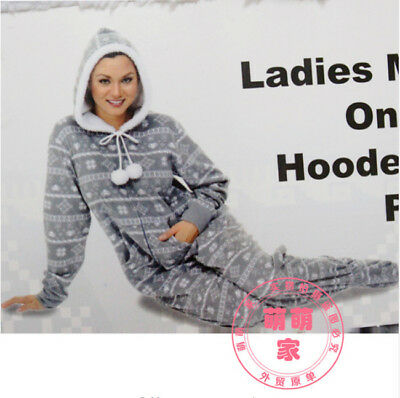 Adult woman Euro Size Hooded&Footed Pajamas Cotton Fleece Onesies Jumpsuit S M L