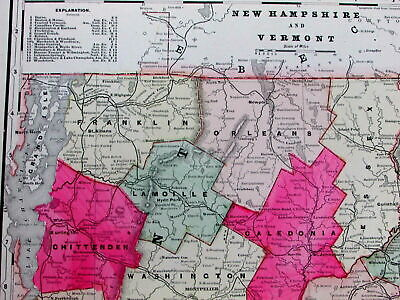 New Hampshire Vermont large scarce 1897 Walker map old hand color RR lines lists