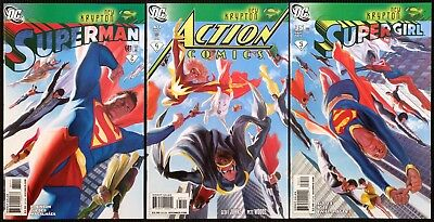 Superman #681, Supergirl #35, Action Comics #871. HTF Alex Ross connector covers
