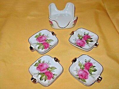Vintage Lefton China Roses Hand Painted Ashtray & Caddy Set   EXCELLENT!