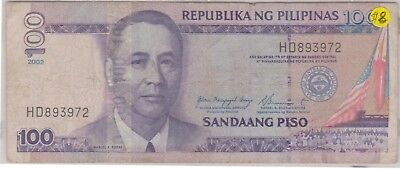 (N9-61) 2002 Philippines 100 peso bank note (D)