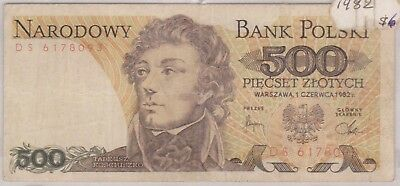 (N9-71) 1982 Poland 500 ZLOTYCH bank note (F)
