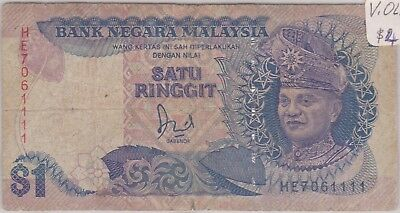 (N9-39) 1982 Malaysia 1 Ringgit bank note (A)