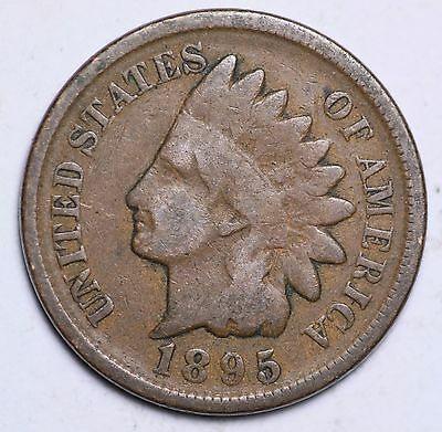 1895 Indian Head Cent Penny / Circulated Grade Good / Very Good 95% Copper Coin