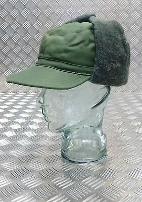 Genuine Swedish Army Green Cold Weather / Dog / Trapper Hat 58cm - NEW