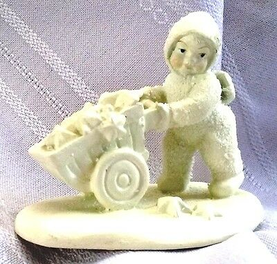 """DEPT 56 SNOWBABIES MINI PEWTER FIGURINE """"THERE'S ANOTHER ONE"""" ~ cart with stars"""
