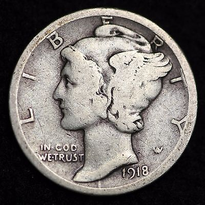 1918-D Mercury Dime / Circulated Grade Good / Very Good 90% Silver Coin