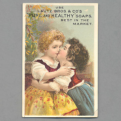 LAUTZ BROS. & CO'S Pure and Healthy Soaps : 1880s Trade Card : TWO GIRLS KISSING