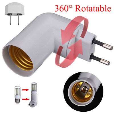 360° Rotatable Plug E27 Base LED Light Lamp Holder Bulb Adapter Screw Socket AU