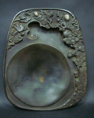 Amazing Rare Quality Old Chinese InkStone Hand Carving Ink Slab Marks