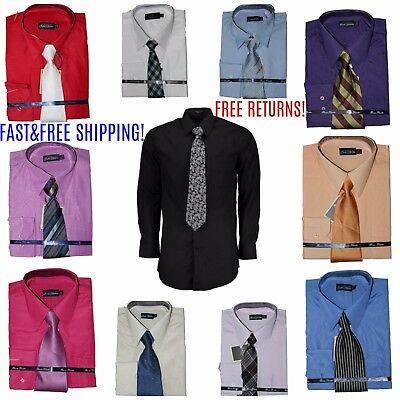 Men's Solid Button Down Dress Shirt Long Sleeve Cotton Blend W Free Mystery Tie!