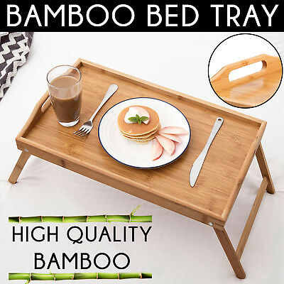 NEW BAMBOO WOOD BED TRAY Breakfast Laptop Desk Tea Serving Table Stand Dinner AU
