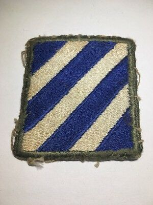 Original WWII U.S. Army 3rd Third Infantry Division Patch OD Border White Back