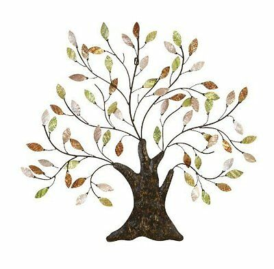 Shell Leaves Tree Wall Art Metal Sculpture Hanging Decorative Living Room  Decor