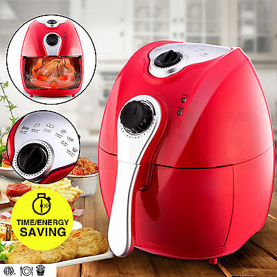 1500W Electric Air Fryer Timer & Temperature Control No-Oil Healthy Less-Fat Red