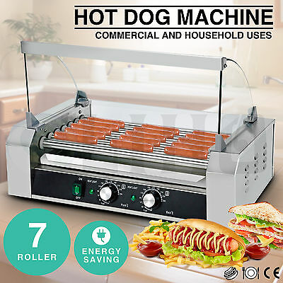Commercial 18 Hot Dog 7 Roller Grill Stainless Steel Cooker Machine w/Cover CE