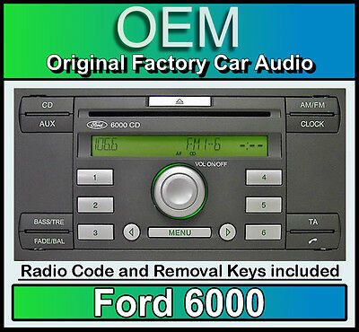 Ford 6000 CD player, Ford Fiesta car stereo headunit with radio removal keys