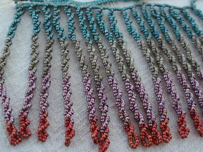 Antique Steel Cut Bead Fringe Multicolor Micro Beaded French Victorian Remnant