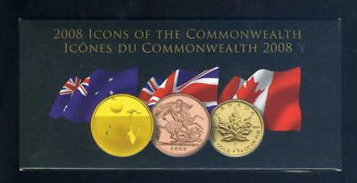 2008 Icons of The Commonwealth Gold Coin Set - 3 Coins.