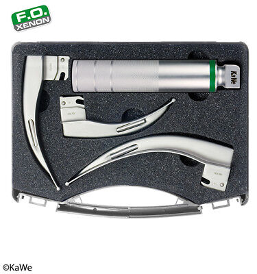 KaWe Laryngoscope Set for Adult with battery handle 2.5 V and 3 blades