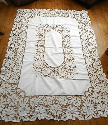 Vintage large Madeira lace tablecloth with  drawn thread & floral cut work