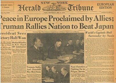 VE Day Peace in Europe Proclaimed by Allies Truman Beat Japan May 9 1945 B21