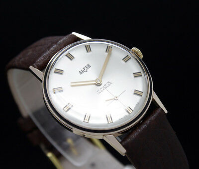 New Old Stock 60s ALPES Rose vintage mechanical watch NOS UNITAS 6310N Army Mvt.