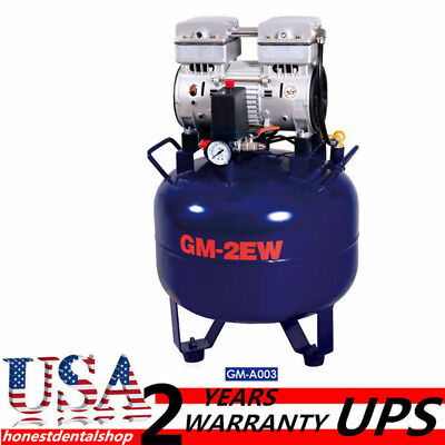 32L One Driving Two Dental Air Compressor Noiseless Oilless Fit Dental Chair UPS