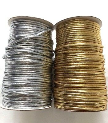 4mm Metallic Gold & Silver Cord 1,2,4 or 8 Meter Christmas craft jewellery Lurex