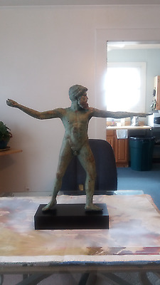 """Ancient Greek Bronze Athlete Spear Throw Huge 25 """" Very Detailed and Heavy"""