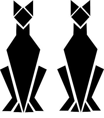 Pair of Art Deco Style Glossy Black Cat Wall Decals Decoration Moderne (25-11)