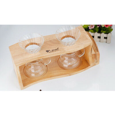 Wood Filter Stand Coffee Dripper Rack Pour Over Drip Holder 2 Hole Hand Tool