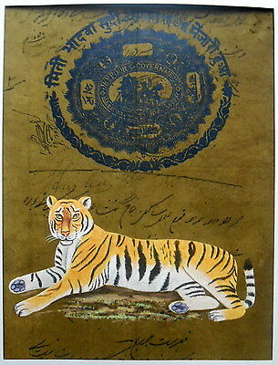 Tiger  painting on old paper home decorative wall hanging Indian art work