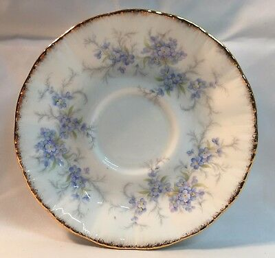 """Paragon Fine Bone China Saucer Only """"Remember Me"""" blue flowers white gold gild"""