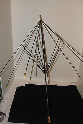 Vintage Umbrella Frame/Black Ribs with Ivory Colored Handle, Tip and Rib Ends