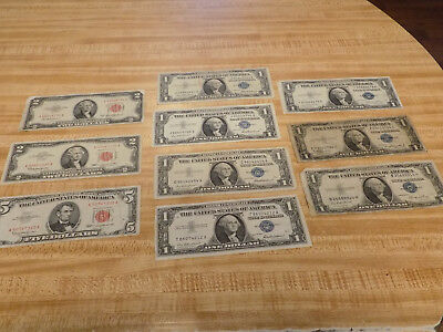 $5 Bill & 2-$2 Bills w/Red Serial #'s, 7-$1 Silver Certificates   L@@K! NoRsv