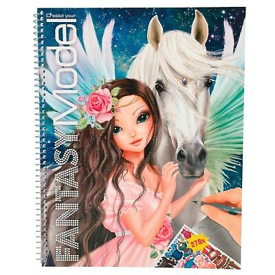 Depesche Create your Top Model Fantasy Model Malbuch mit Stickern Pegasus Pferd