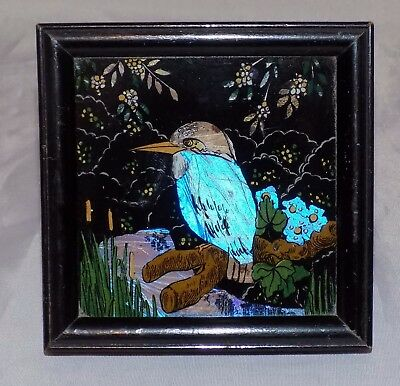 Art Deco Shipton Butterfly Wing Kingfisher by River Scene Easel Framed Picture