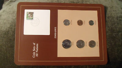 Coin Sets of All Nations Zimbabwe  w/card  1980 - 1983 UNC Rhino